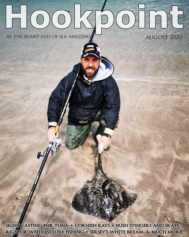 Hookpoint August 2020 cover with Chris O'Sullivan and a stingray