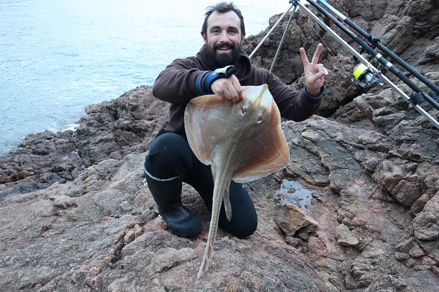Sam Chapon delighted as his second small eyed ray of the session