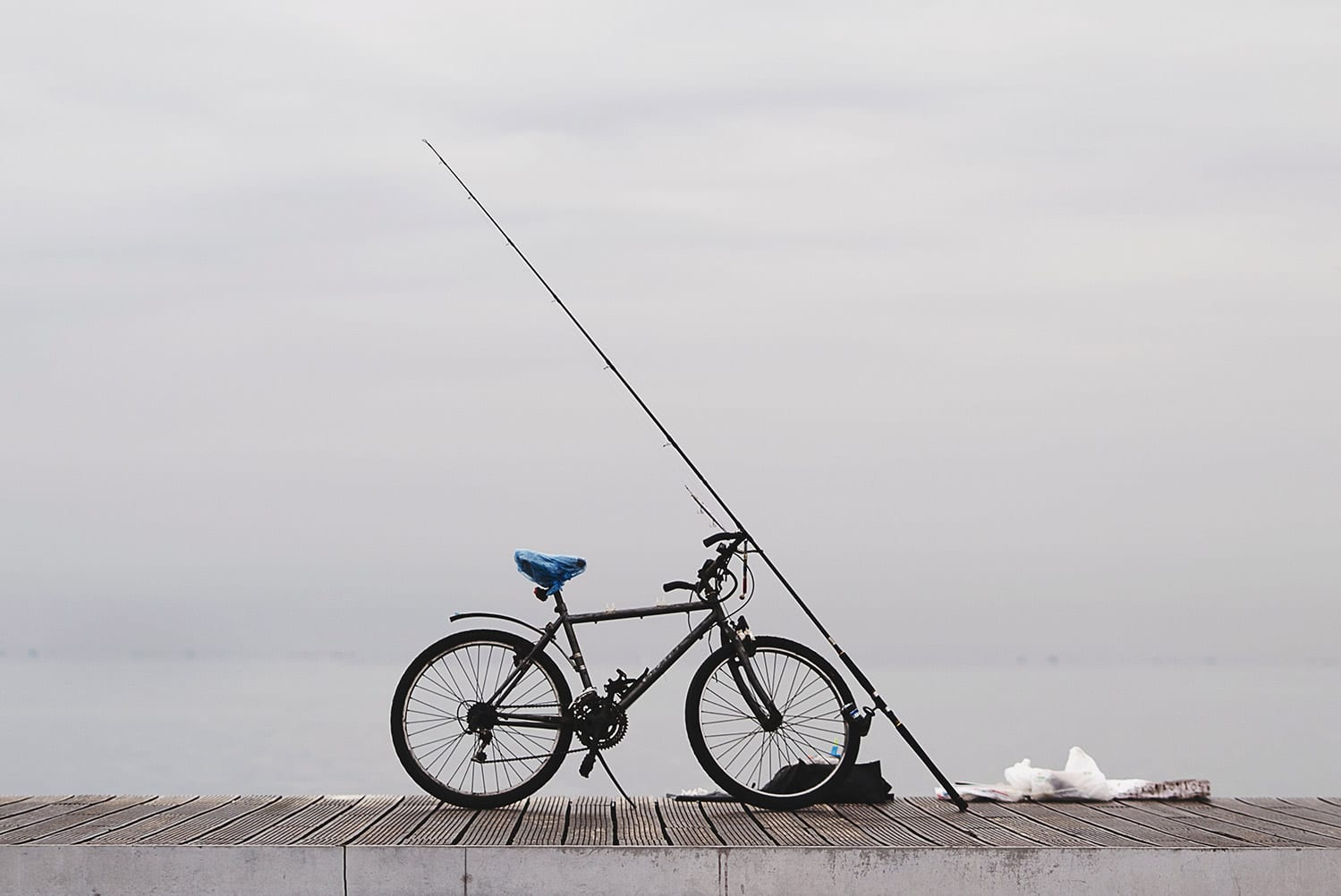 bike with a fishing rod resting on it